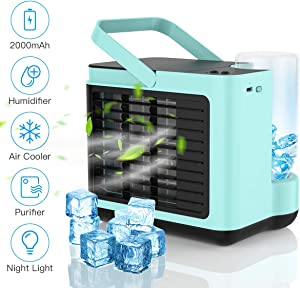 Personal Air Cooler,Portable Air Conditioner Fan,USB Rechargeable Quiet Mini Cooling Fan,Small Desktop Cooler Fan, Evaporative,Humidifier,Purifier with LED Light 3 Speed for Home,Office,Bedroom-Blue