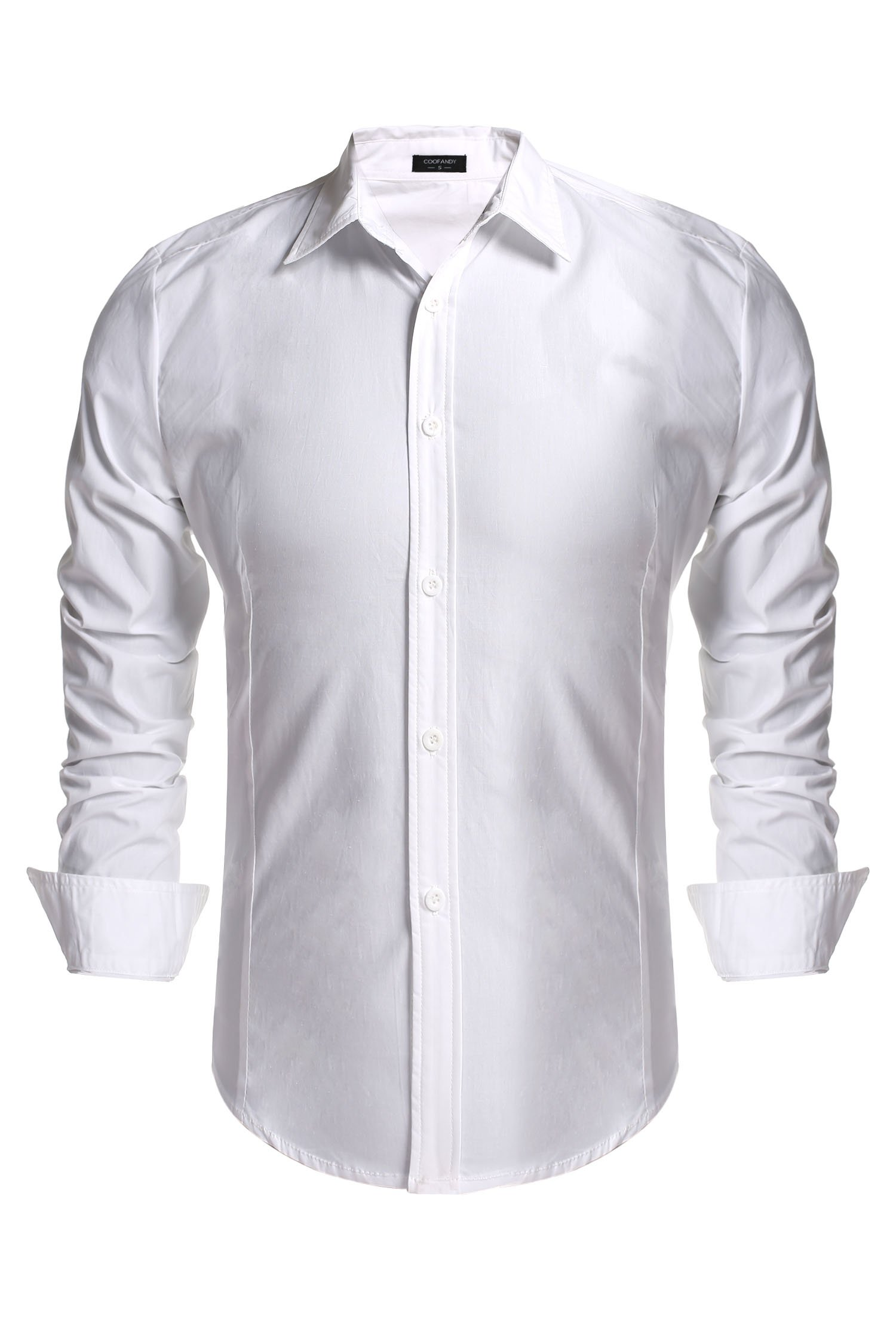 Gotchicon Mens Long Sleeve Dress Shirts Slim Fit Shirts for Men,White,Small