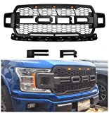 For 2018 Ford F-150 Grille Raptor Style Matte Black W/F&R with 3 LED Light
