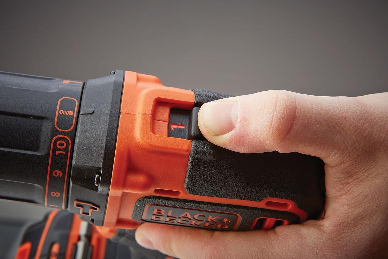 Bohren /& Schlagbohren 2 Akkus 1 x Schlagbohrer Li-Ion 18 V Schlagbohrmaschine mit 2-Gang-Vollmetallgetriebe /& LED-Licht zum Schrauben Black+Decker 2-Gang Akku-Schlagbohrschrauber BDCHD18KB