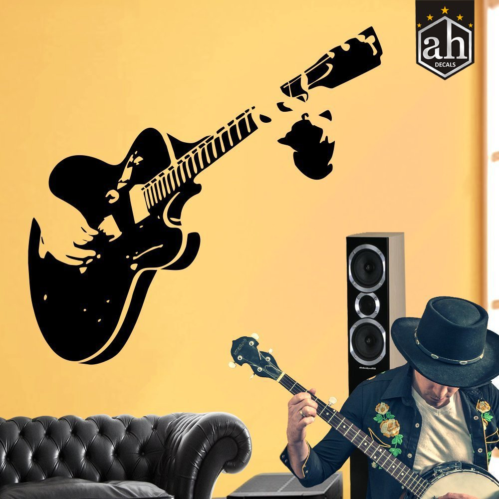 Buy AH Decals Musical Guitar Design Wall Sticker for Home Decor (122 ...