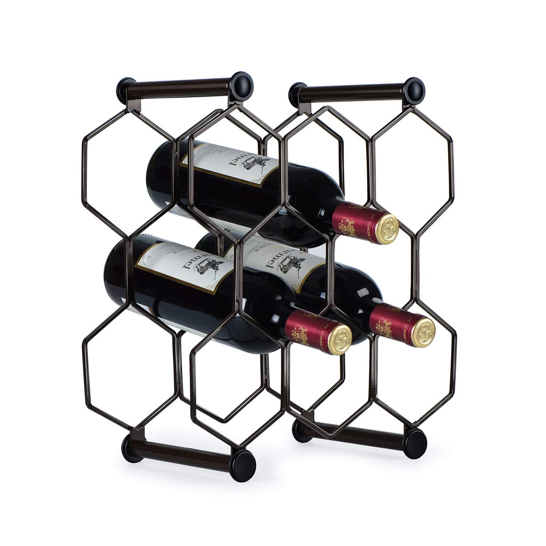 RooLee Tabletop Wine Rack, Free Standing Countertop Wine Holder, Honeycomb Design, 8-Bottle, Metal (Brown)