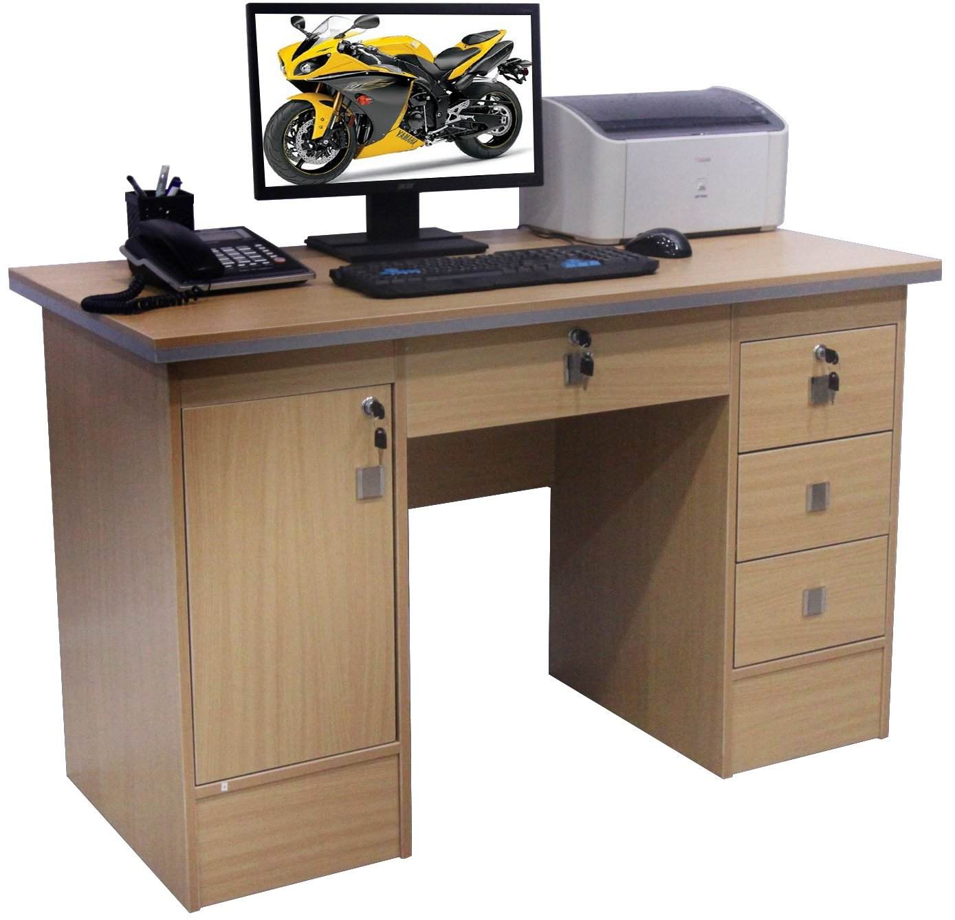 Computer Desk For Home Office PC Table in Beech, Black White and Walnut Clr With 3 Locks (Beech Desk 617/110) Westen Deals