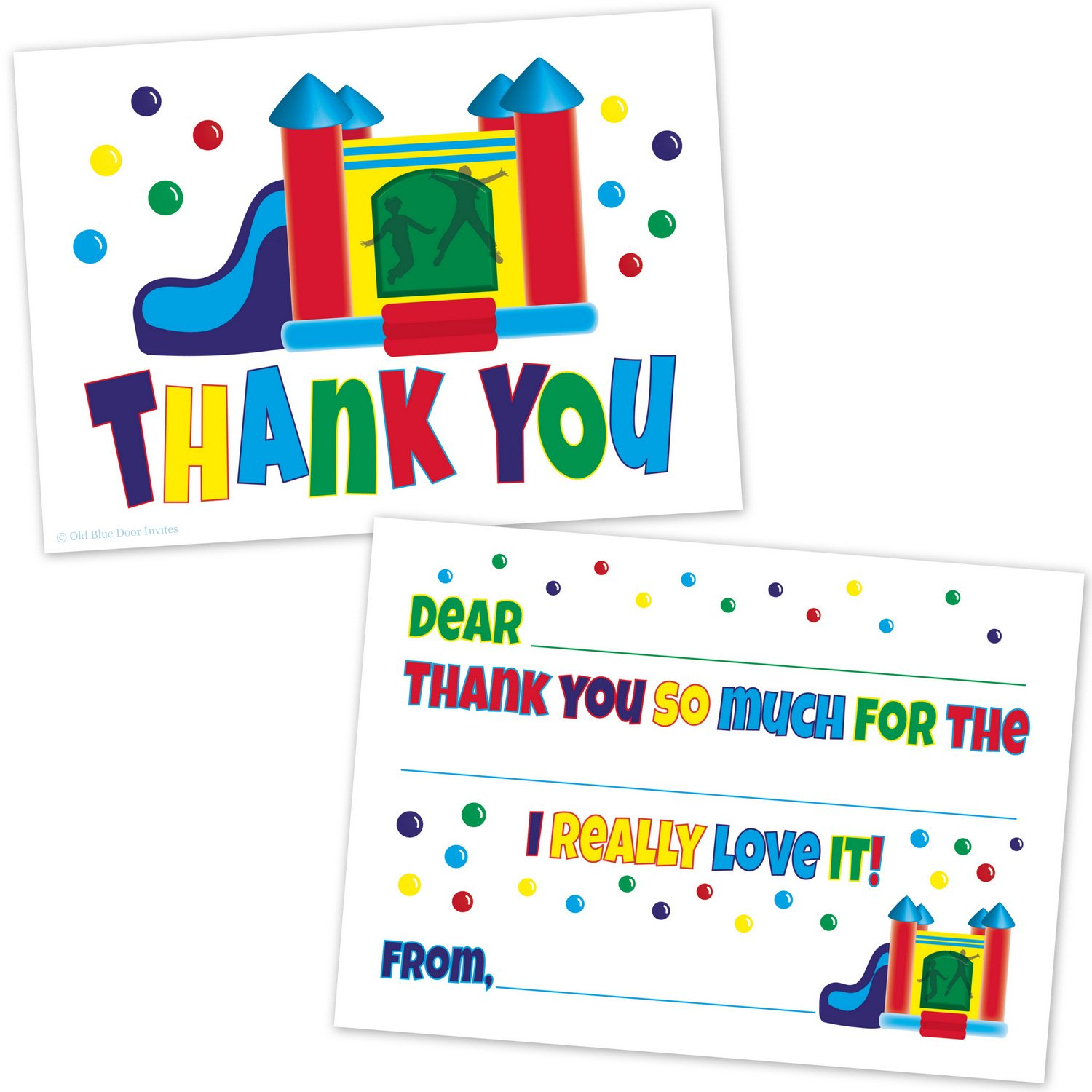 Bounce House Kids Fill In Thank You Cards Birthday Thanks 20 Count with Envelopes