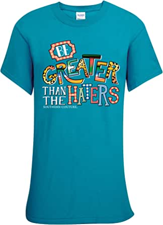 Southern Couture Greater Than The Haters Tropical Blue Cotton Fabric Novelty T-Shirt