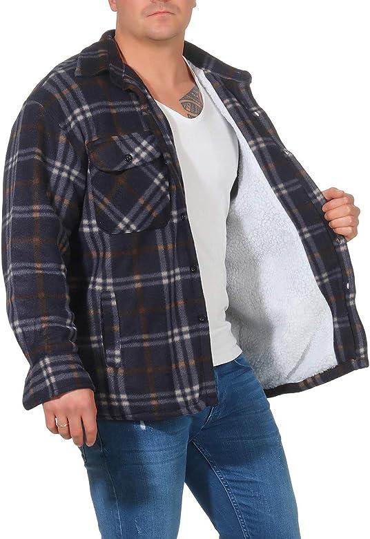 Chaqueta térmica para Hombre con Forro de Felpa de Felpa Forro de Tela Escocesa Chaqueta de leñador Chaqueta de Trabajo Chaqueta de Franela a Cuadros ...