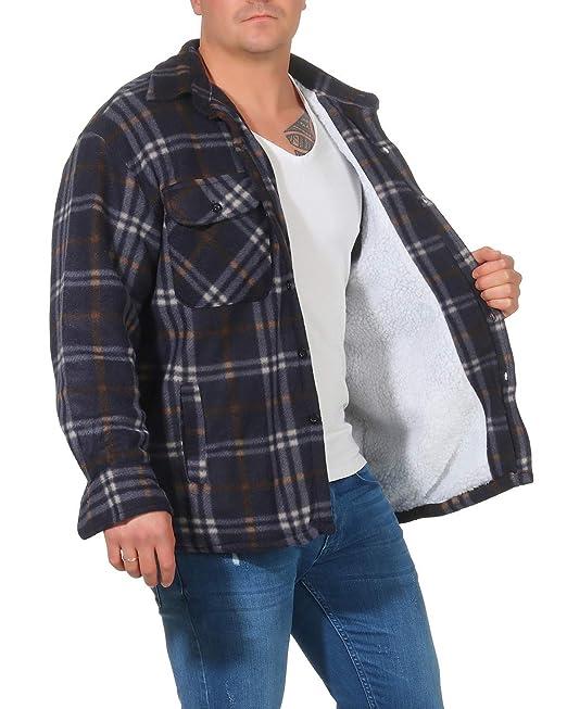Chaqueta térmica para Hombre con Forro de Felpa de Felpa Forro de Tela Escocesa Chaqueta de