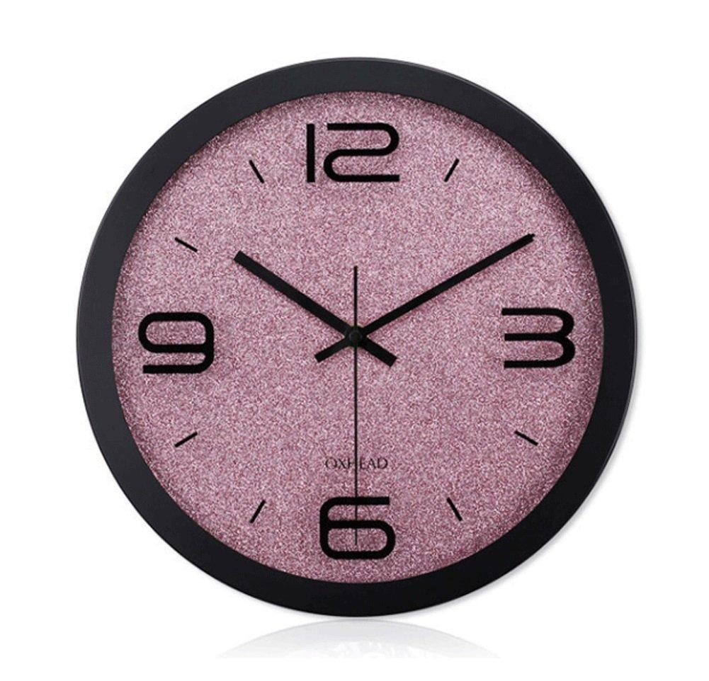 JJJJD サイレントウォールクロック12インチメタルクロックリビングルームホームクォーツ時計ラウンドウォールクロックオフィスクロック (Color : B) B07TS9VMXP B