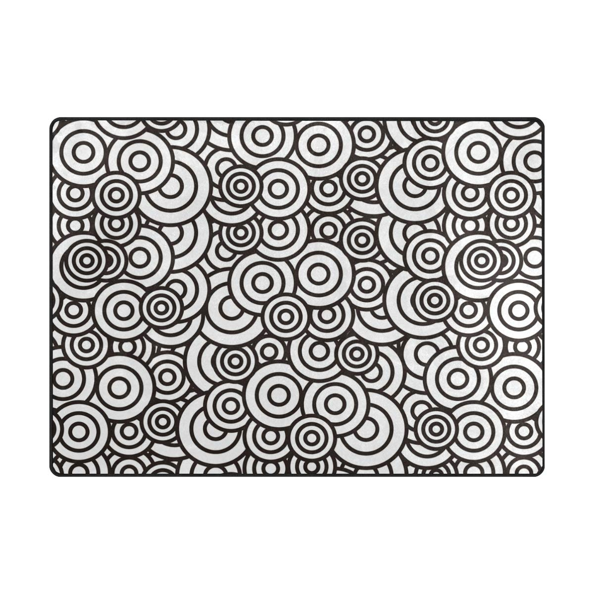 63 x 48 inch DEZIRO Round Cloud Black and White Polyester Doormat Area Rug Carpet Entry Way Floor Mats shoes Scraper Home Dec Anti-Slip Washable