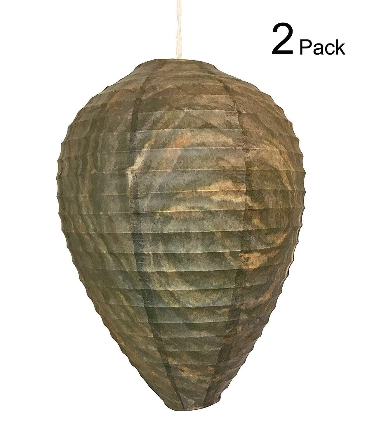 9 Inch Wasp Nest Decoy, LANREN Eco Friendly Hanging Get Lost Wasp Nest Bee Free Wasp Deterrent - 2 Packs Lansen-CA