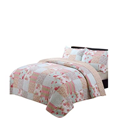 vivinna home textile Cotton Quilt queen/double size Sets -3pcs include 2 pillow Shams patchwork Bedspread throw (Patchwork pink, Queen:90 X90 )