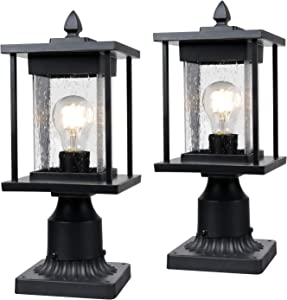 "Osimir Outdoor Post Lantern, 2 Pack Modern Outdoor Post Light Fixtures with Pier Mount Base, Sanded Black Finish Seeded Glass, 6.5"" W x 16"" H, 8598/1G-2PK"