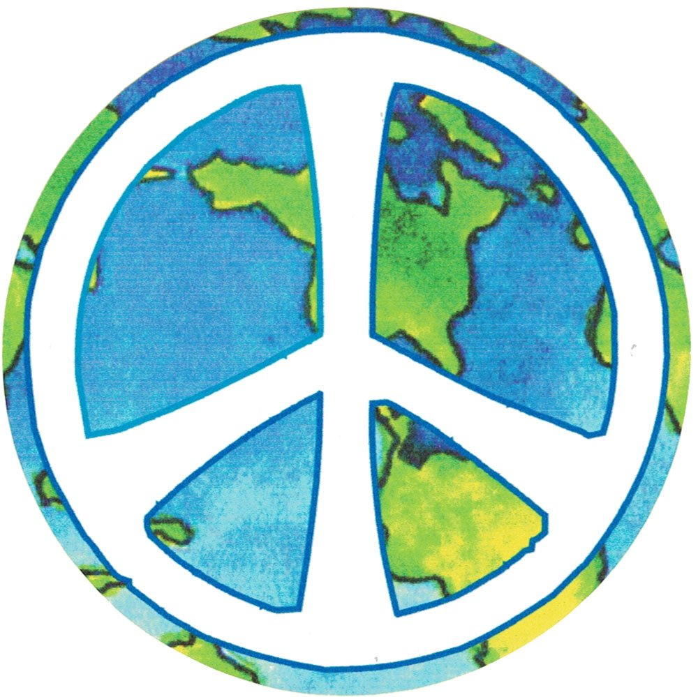 Peace Sign Over Earth Small Bumper Sticker Decal 3.25 Circular