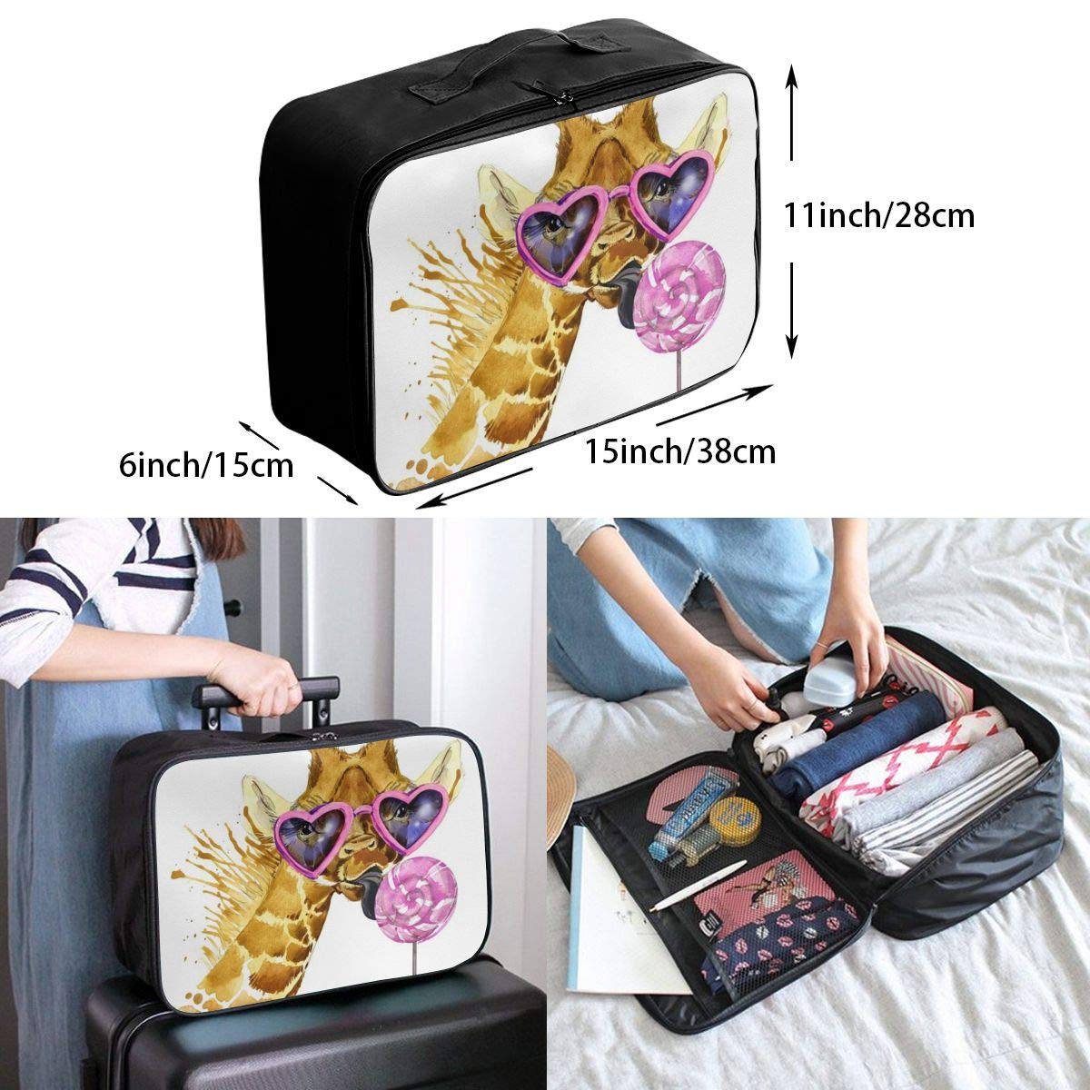 ADGAI Funny Giraffe Canvas Travel Weekender Bag,Fashion Custom Lightweight Large Capacity Portable Luggage Bag,Suitcase Trolley Bag