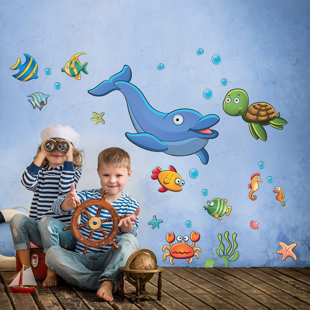 R00341 Adhesivos Pared Mar Delfino Tortuga Piscis Decoraci/ón Pegatina Dormitorio infantil Ni/ño