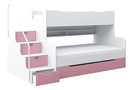Letti A Castello Rosa.Max4 Letto A Castello Con Cassetto Colore Bianco Rosa Amazon It