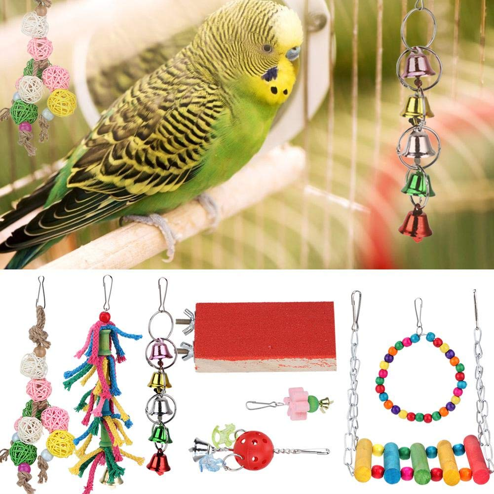 Birds Toys Set, 8Pcs Colorful Hanging Chewing Cage Accessories for Parrots Parakeet Budgie Finches