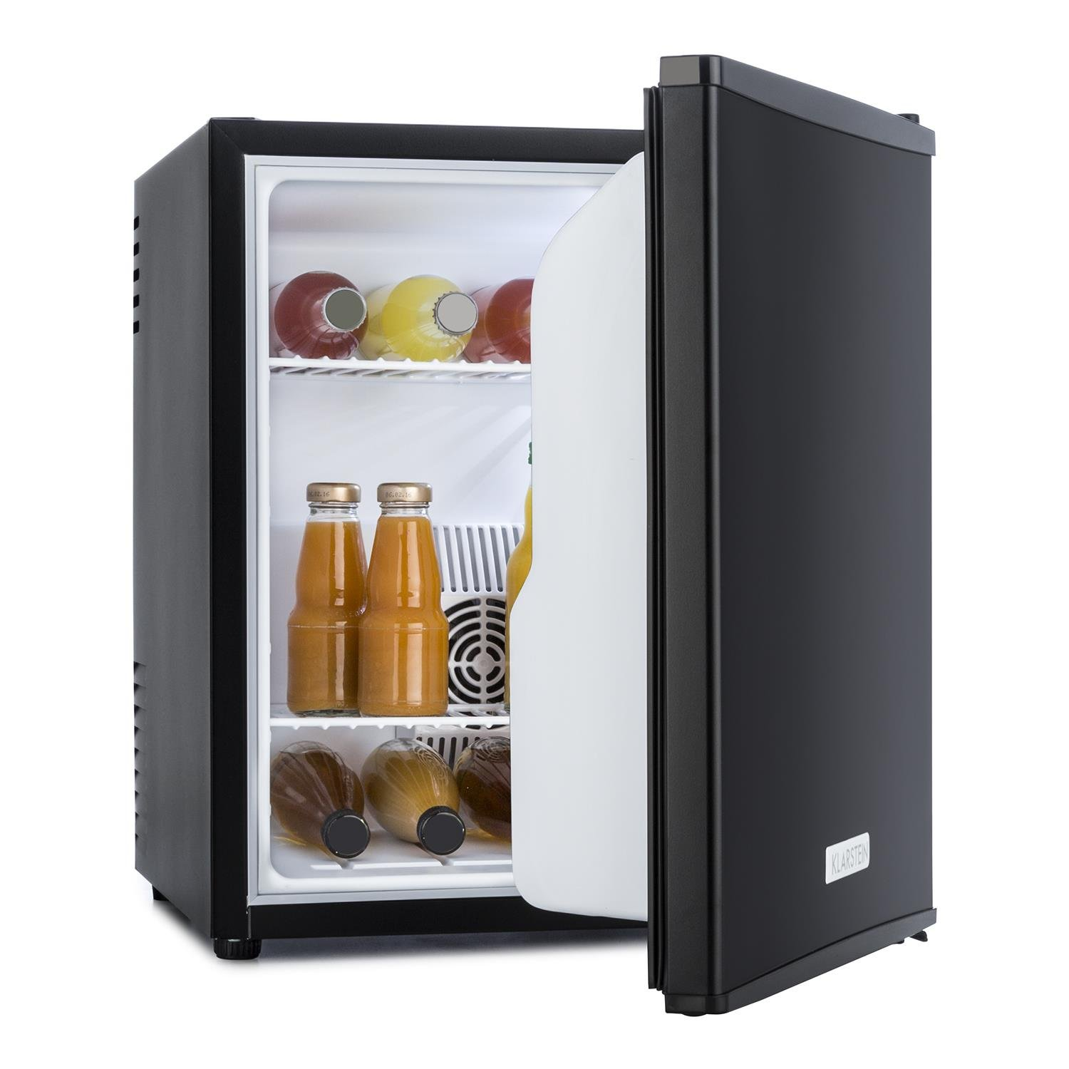 Klarstein Manhattan Mini Fridge • Mini Bar • Refrigerator • Cooler • 35 Litre Capacity • Eco-Friendly • Removable Shelf Rack • 2 Shelf Trays • Reversible Door • Low Noise Level • Energy Class A • Ultra Compact Dimensions • Black