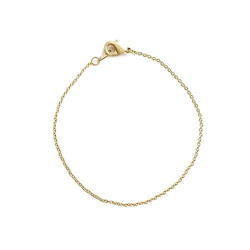 f6e05cdd0fa HONEYCAT 24k Gold Plated Thin Chain Plain Bracelet | Minimalist, Delicate  Jewelry (G)