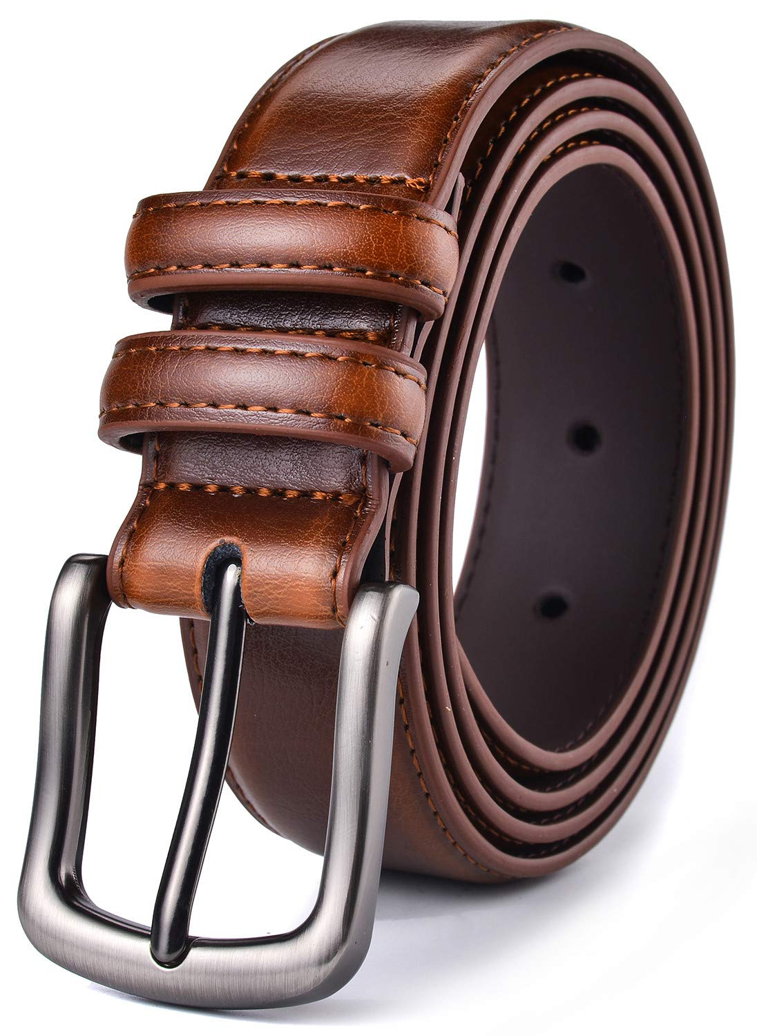 Mens Belt, HW Zone Genuine Leather Dress Belt Classic Casual 1 1/8 Wide Belt With Single Prong Buckle