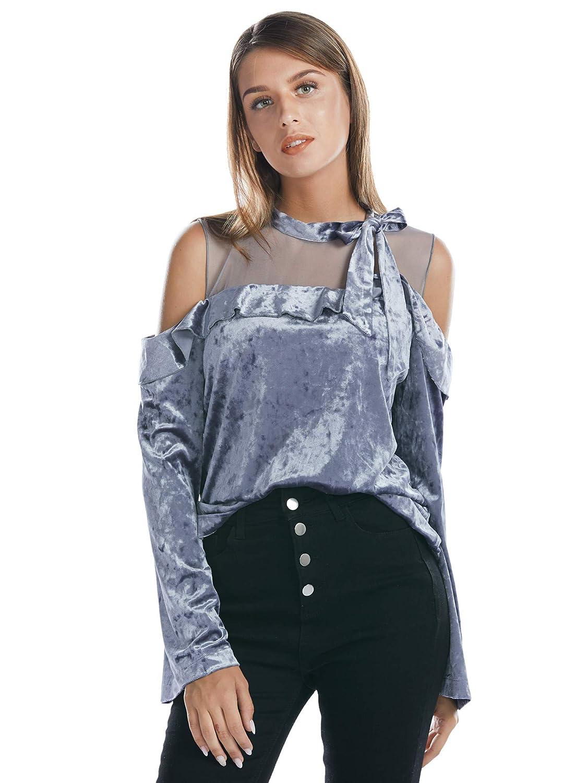 12b73e42370311 BARGOOS Women Winter Velvet Open Shoulder Blouse Long Frills Sleeve Bowknot  Cut Out Mesh Shirt Tops at Amazon Women s Clothing store
