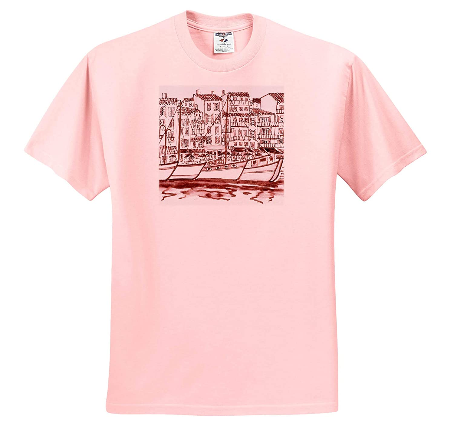Sailboats moored in The Harbor Adult T-Shirt XL France ts/_313145 Cassis 3dRose Danita Delimont France
