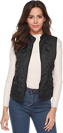 EVERICH Womens Spring Autumn Winter Vest Lightweight Stand Collar Quilted Zipper Vest with Pockets