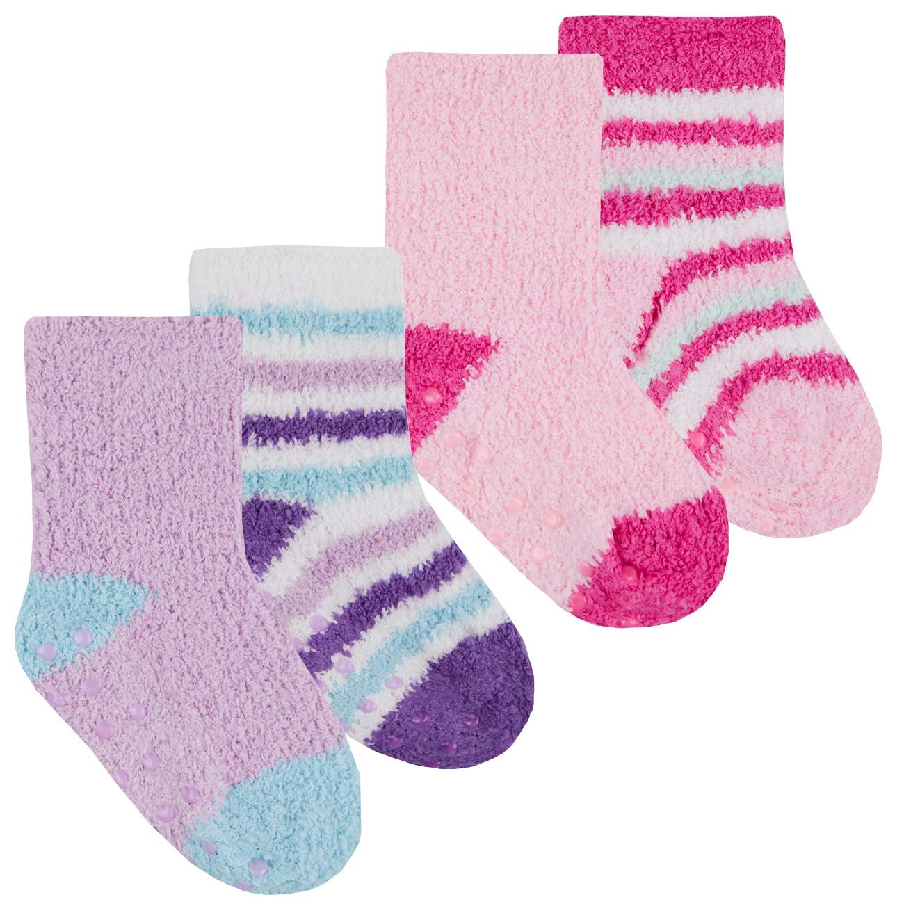 TICK TOCK Baby Girls Cosy Fluffy Socks 4 Pairs Anti Slip Grippers Size 0-5.5