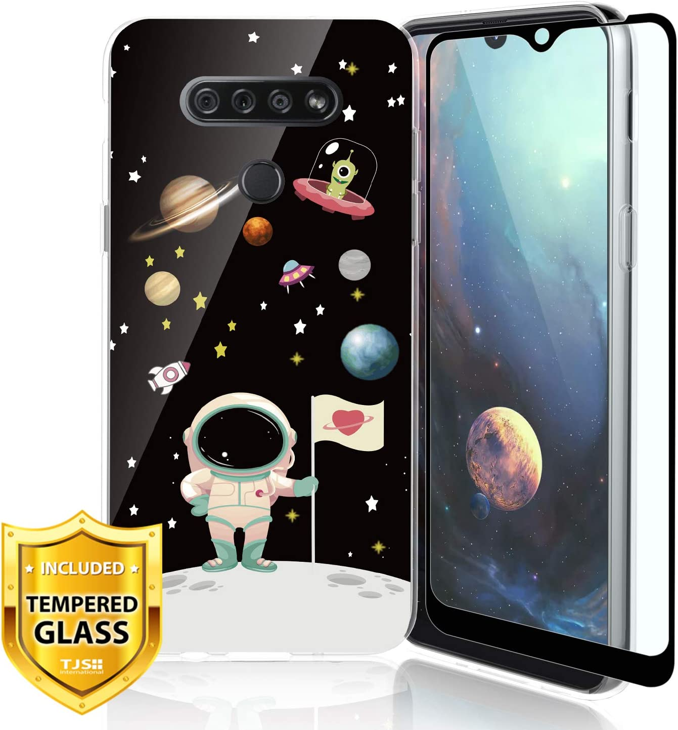 TJS Phone Case Compatible for LG G K51, LG Q51, LG Reflect, with [Full Coverage Tempered Glass Screen Protector] Ultra Thin Slim TPU Matte Color Design Transparent Clear Soft Skin (Astronaut)