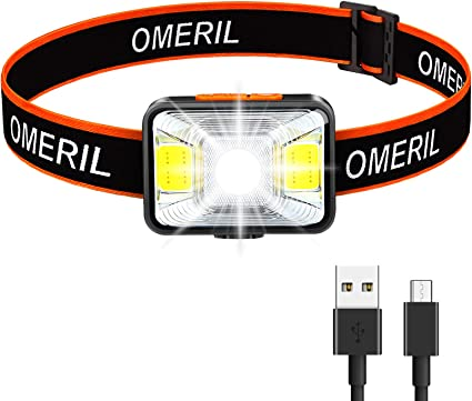 Lot de 2 Lampe Frontale Puissante OMERIL LED Torch Frontale USB Rechargeable