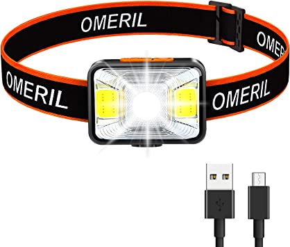 OMERIL Linterna Frontal LED USB Recargable, Linterna Cabeza Muy Brillante, 5 Modos de Luz (Blanco y Rojo), IPX5 Impermeable, Mini Frontal LED para ...