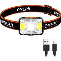LED-huvudlampa, OMERIL USB-uppladdningsbar strålkastare med superljus 200 lumen, 5 belysningslägen, vitt och rött ljus…