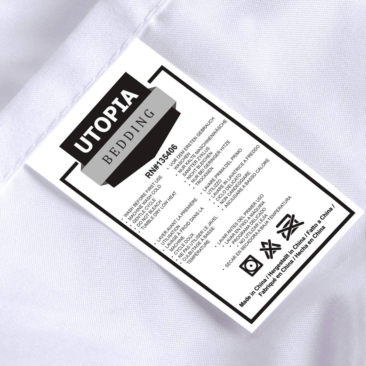 Utopia Bedding Juego de Funda de Edred/ón Cama 80-1 x Funda Edred/ón 135x200cm, 1 x Funda Almohada 50x75cm, Blanco Microfibra Funda de N/órdico y Funda de Almohada