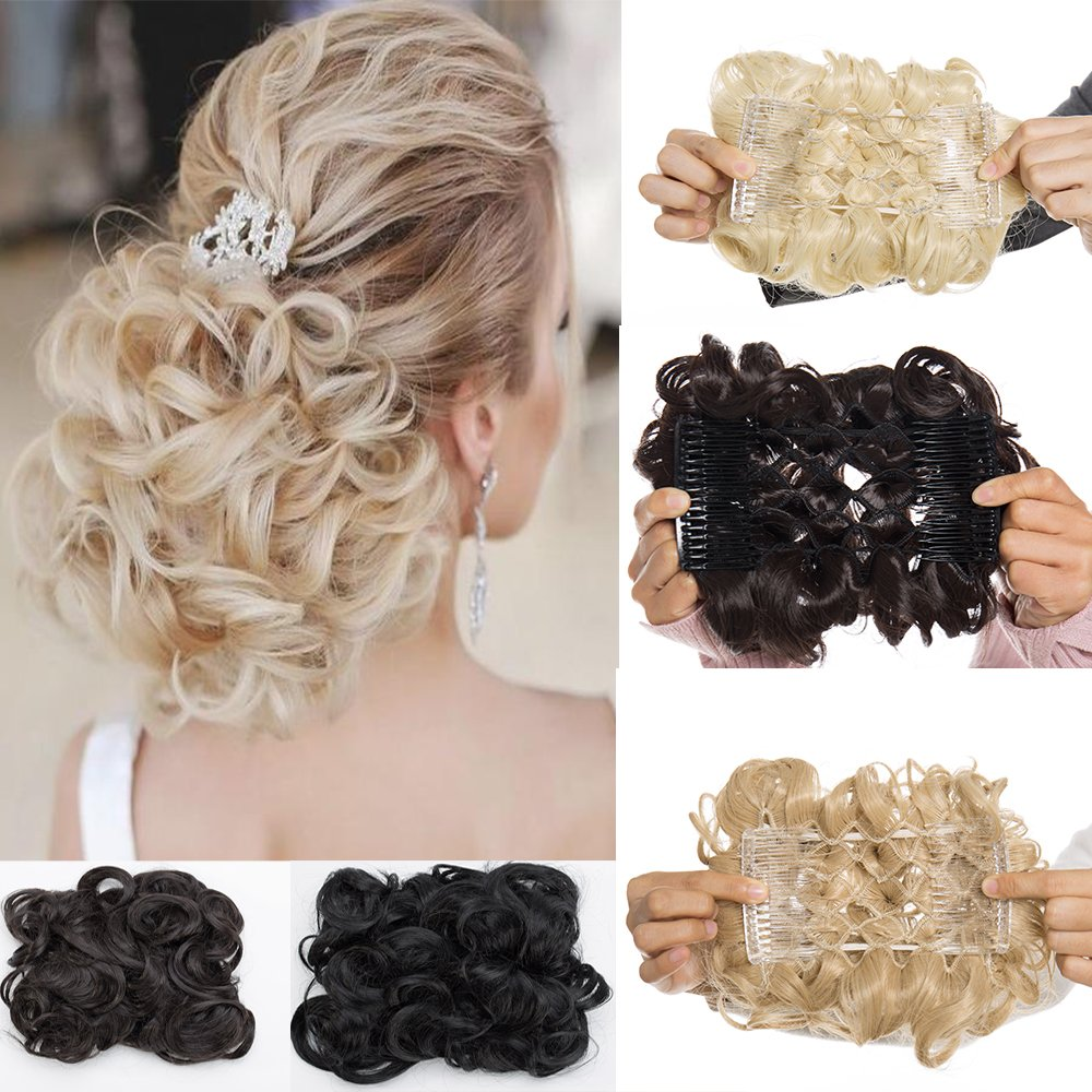 Comb Chignon Short Messy Curly Donut Hair Bun Clip in Ponytail Extension Wig Updo Scrunchie for Wedding Party(dark brown) US Fashion Outlet