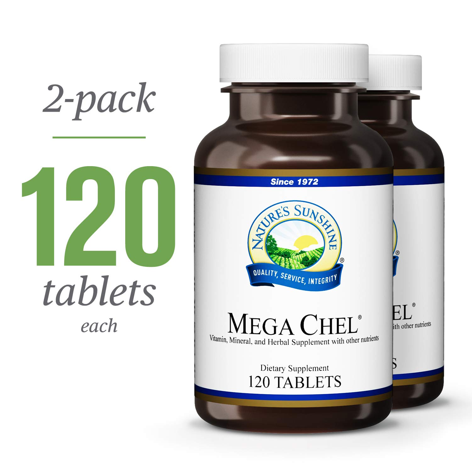 Nature s Sunshine Mega-Chel, 120 Tablets, 2 Pack Complete Vitamin with Powerful Antioxidants, Herbs, Vitamins, Minerals, and Amino Acids That Support The Circulatory System