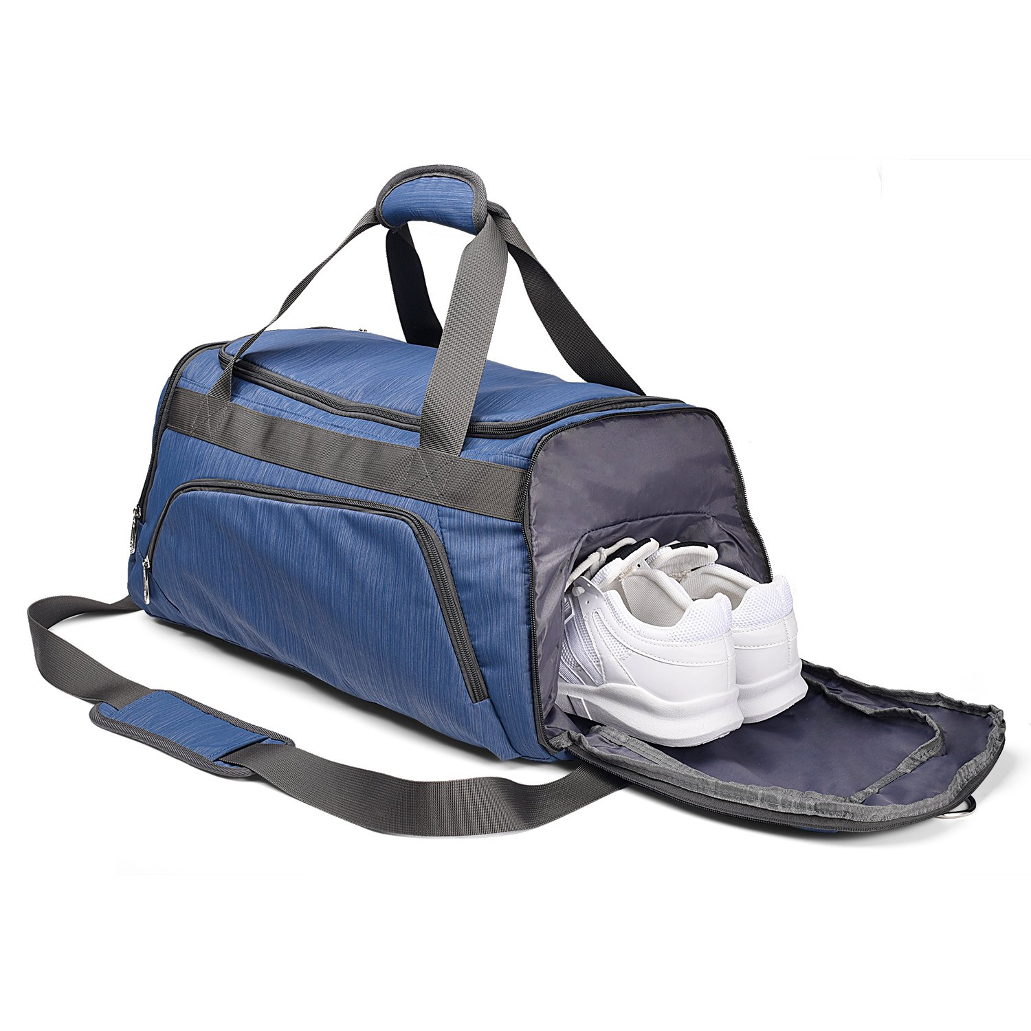 Sports Gym Bag with Shoes Compartment Travel Duffel Bag for Men and Women Blue Color