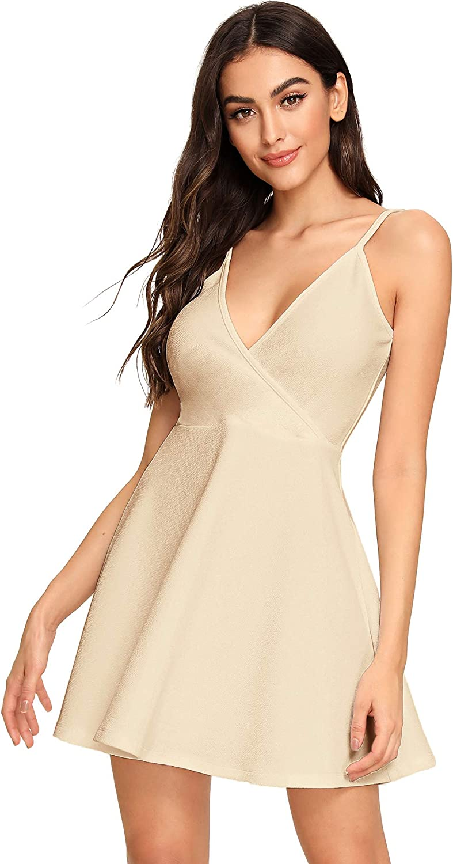 SheIn Women's V Neck Adjustable Spaghetti Straps Sleeveless Sexy Backless Dress: Clothing