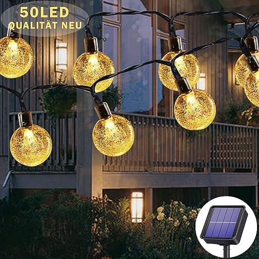 Cadena de luces solares para exterior, 50 ledes, 8 modos, bolas de cristal solar impermeables para exterior e interior, iluminación para jardín, árboles, terraza, Navidad, fiestas (blanco cálido): Amazon.es: Iluminación
