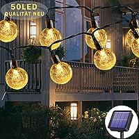 Lichtsnoer op zonne-energie voor buiten, 50 leds, 7 meter, 8 modi, waterdicht, buiten/binnenverlichting, verlichting…