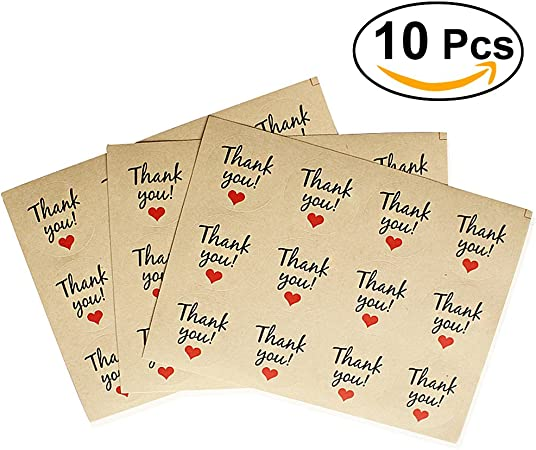 foglio BESTOMZ Thank You Etichette adesive Carta di Kraft Thank You Decals 12pcs 10 fogli