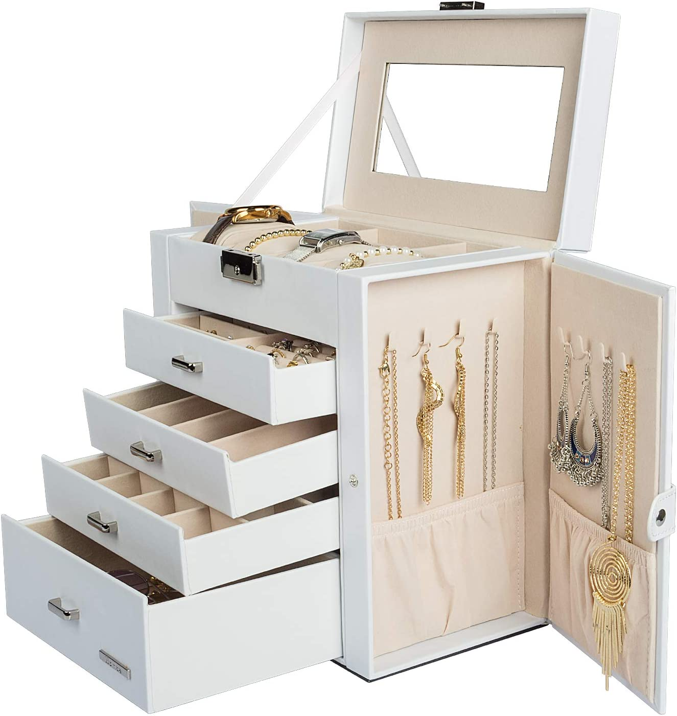 Amazon Com Homde Synthetic Leather Huge Jewelry Box Mirrored Watch Organizer Necklace Ring Earring Storage Lockable Gift Case White Home Improvement
