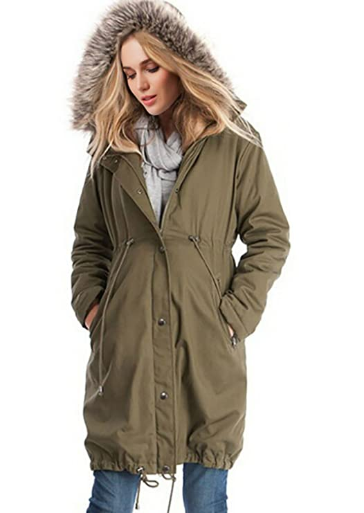 1a64403a3c734 D-Pink Womens Maternity Jacket 3 in 1 Pregnancy Hooded Parka Coat Removable  Panel Babywearing Padded Jacket Coat at Amazon Women's Clothing store: