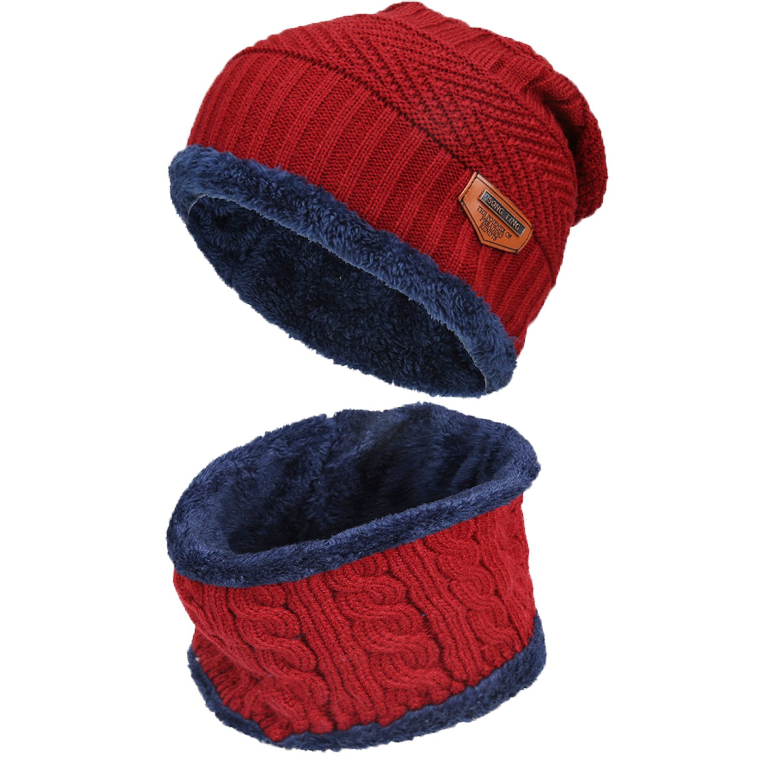 Bequemer Laden Kids Winter Beanie Hat and Scarf Set Warm Knit Beanie Cap and Circle Scarf with Fleece Lining for Kids Boys Girls, 2-Pieces