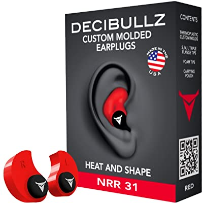 Decibullz - NRR 31 Custom Molded Earplugs, Perfect Fit Ear Protection for Safety, Travel, Work and Shooting