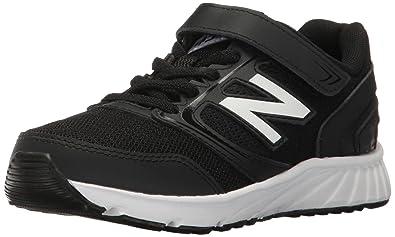 f92c66554 New Balance Boys' 455 Running Shoe, Black/White, 1 M Little Kid