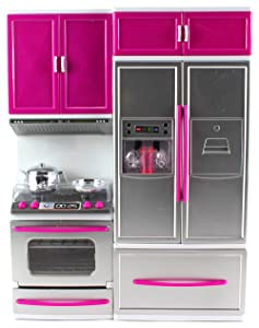 "Velocity Toys My Modern Kitchen Oven Refrigerator Battery Operated Toy Doll Kitchen Playset w/ Lights, Sounds, Perfect for Use with 11-12"" Tall Dolls"