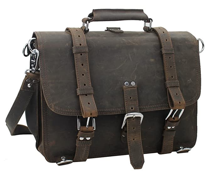 Vagabond Traveler 16 quot  Large Classic Full Gain Leather Briefcase  Backpack (Heavy 7LB) L09 77918c4f1c579