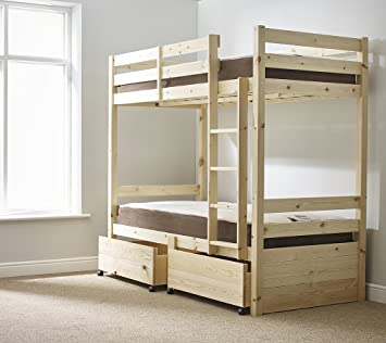 Storage Bunk Bed 3ft Single Solid Pine Bunkbed With Drawers