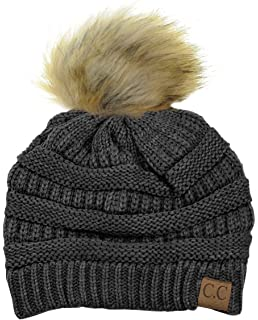 7cea1b515e343 NYFASHION101 Exclusive Soft Stretch Cable Knit Faux Fur Pom Pom Beanie Hat
