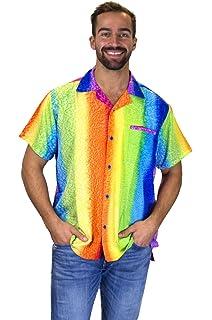 ad03e9b3 V.H.O Funky Hawaiian Shirt for Men Short Sleeve Front-Pocket Rainbow  Vertical, Multicoloured